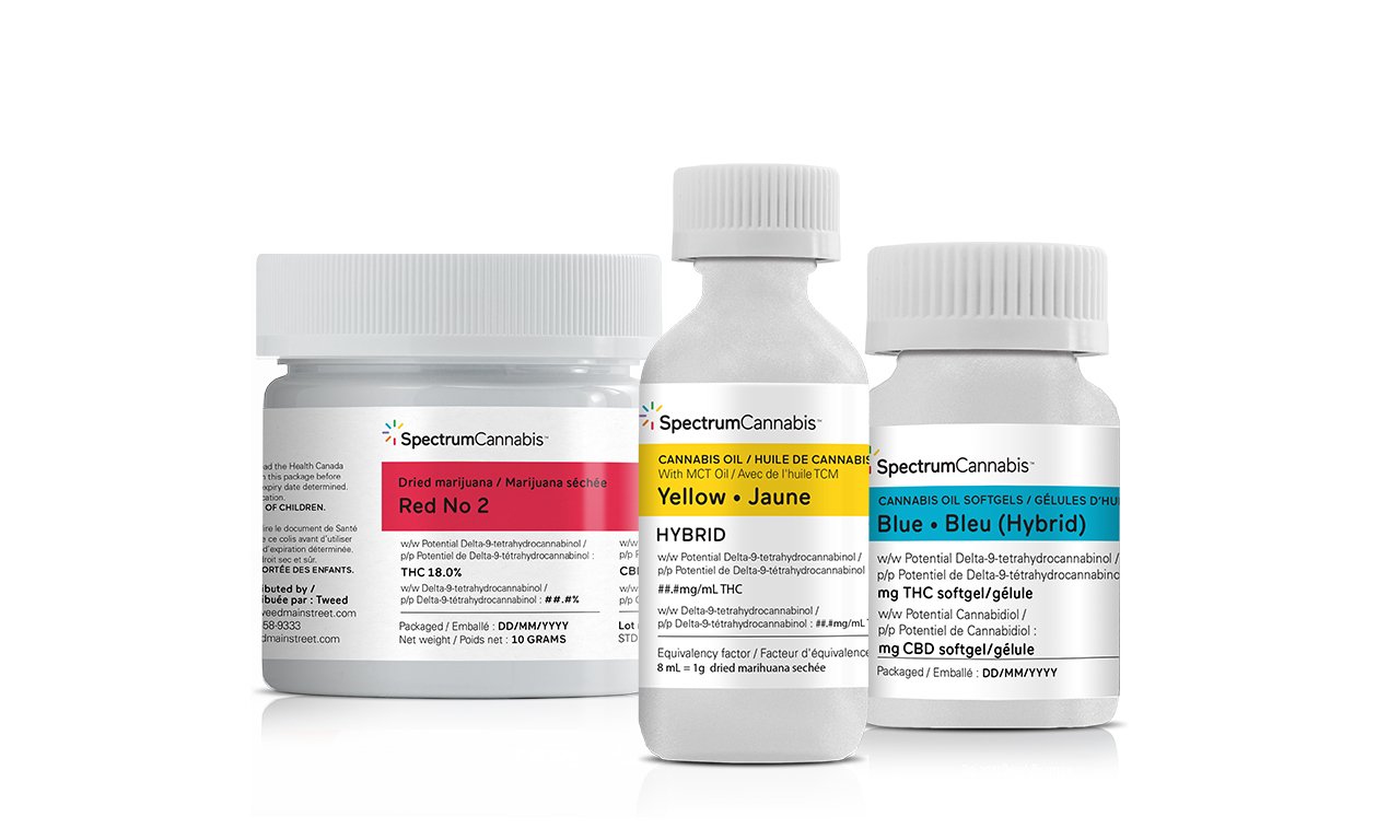 Spectrum Cannabis Products - Red, Yellow and Blue