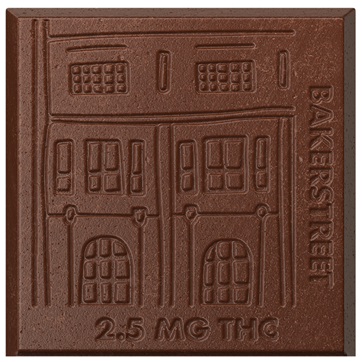 Closeup of one square of Bakerstreet and Peppermint cannabis-infused chocolate