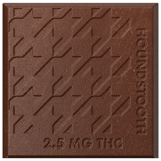 Closeup of one square of Houndstooth and Mocha cannabis-infused chocolate