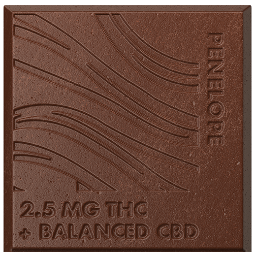 Closeup of one square of Penelope cannabis-infused chocolate