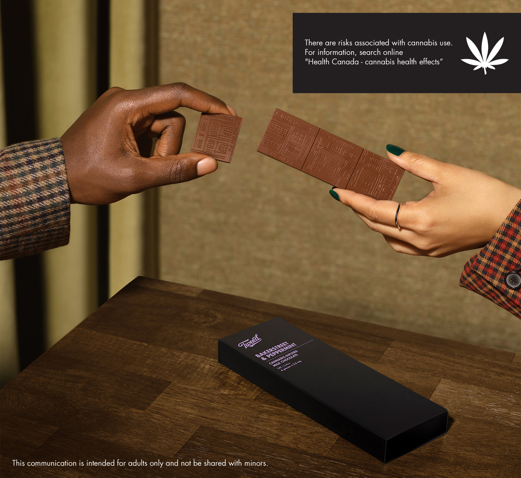 Male and female hand sharing 4 bars of Bakerstreet & Peppermint cannabis chocolate