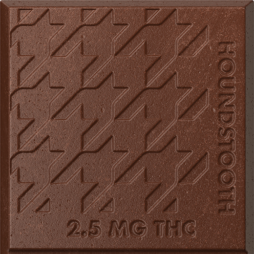 A closeup of a Houndstooth chocolate bar square