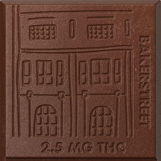 A closeup of a Bakerstreet chocolate bar square