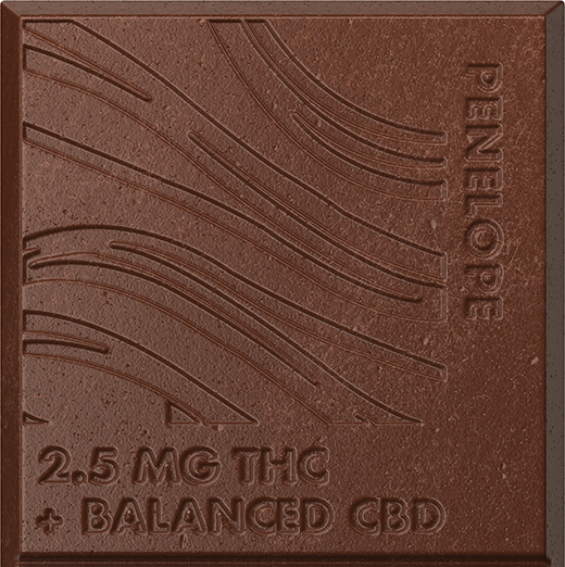 A closeup of a Penelope chocolate bar square