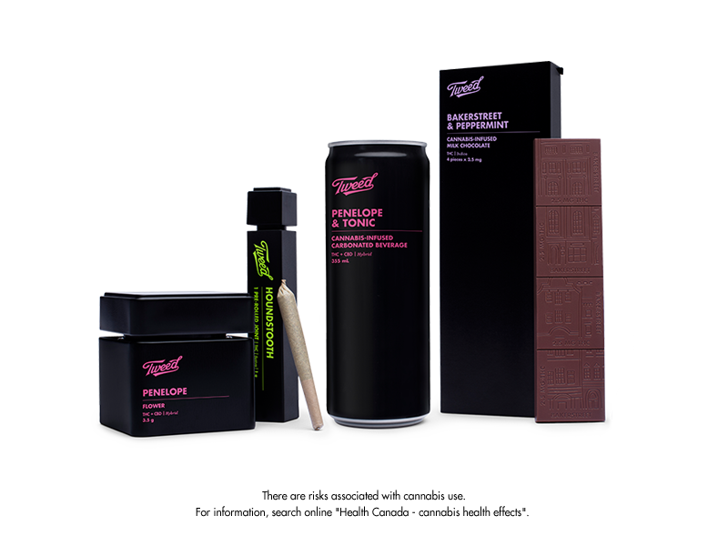 A group shot of Tweed Penelope cannabis in all formats