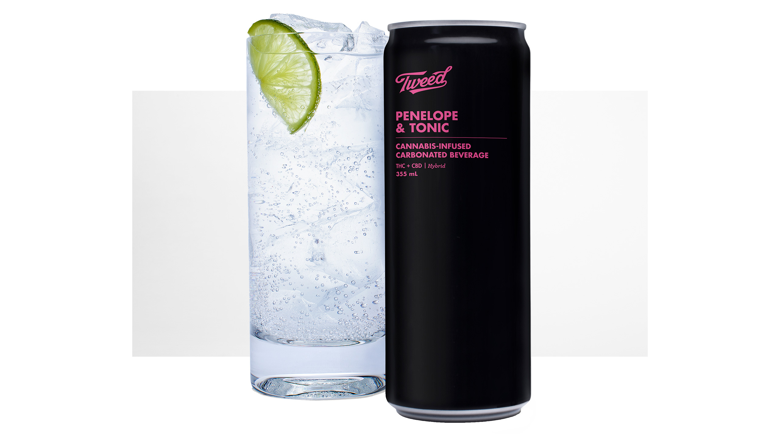 A can of Tweed Penelope and Tonic cannabis-infused carbonated drink with a glass of tonic