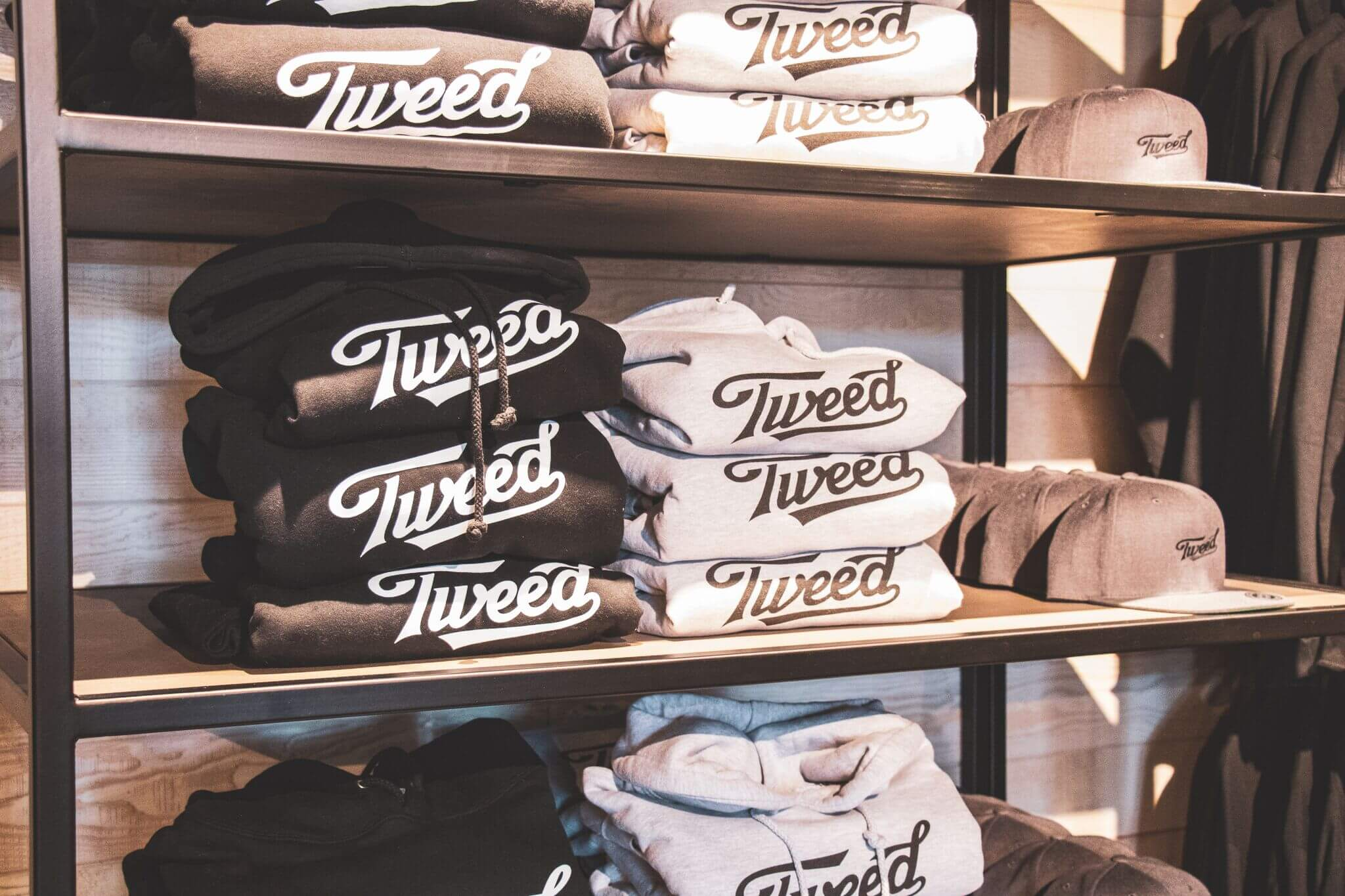 Tweed Sweatshirts On Shelves at Visitor Centre