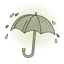 Umbrella Illustration With Water Droplets